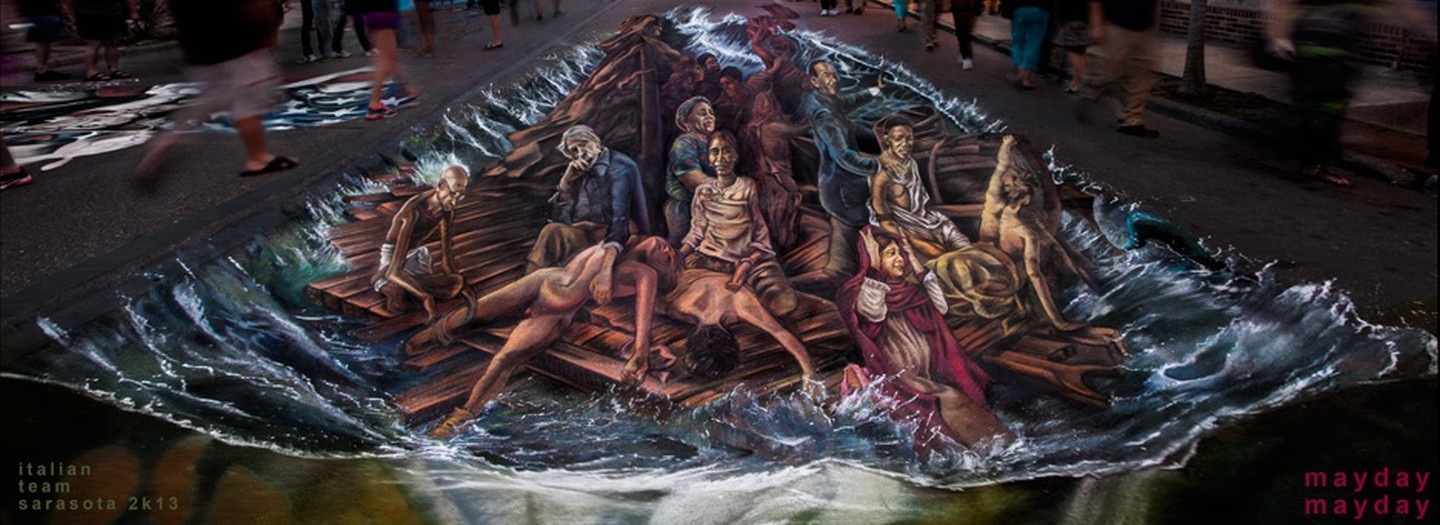 The Big 3D Raft of Human Rights at Sarasota Chalk Festival USA 2013!
