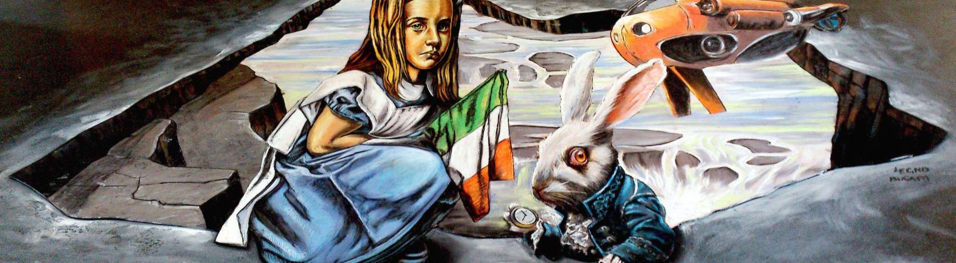 3D Pavement Art in Ireland again! Vera & Luigi at Wicklow Arts Fest 2014