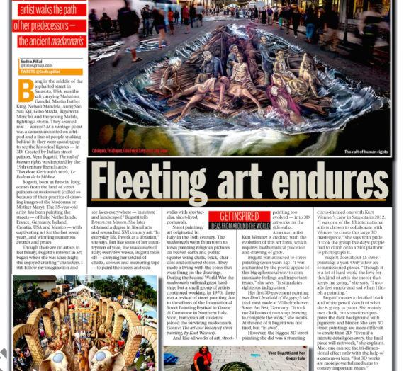 My 3D Street Art on The Bangalore Mirror, India!