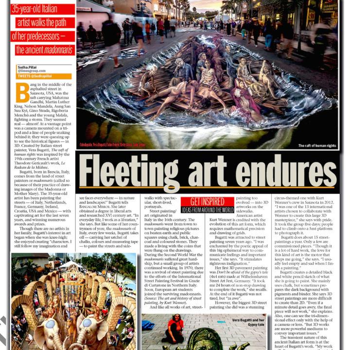My 3D Street Art on The Bangalore Mirror, India!