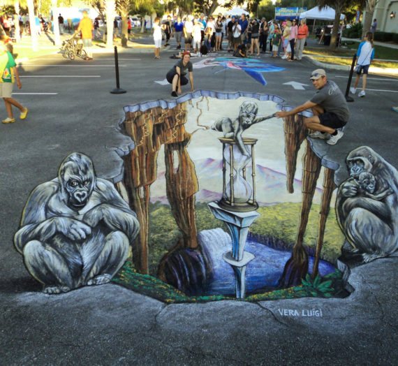 Gorillas in a new 3D pavement art in Venice, USA!