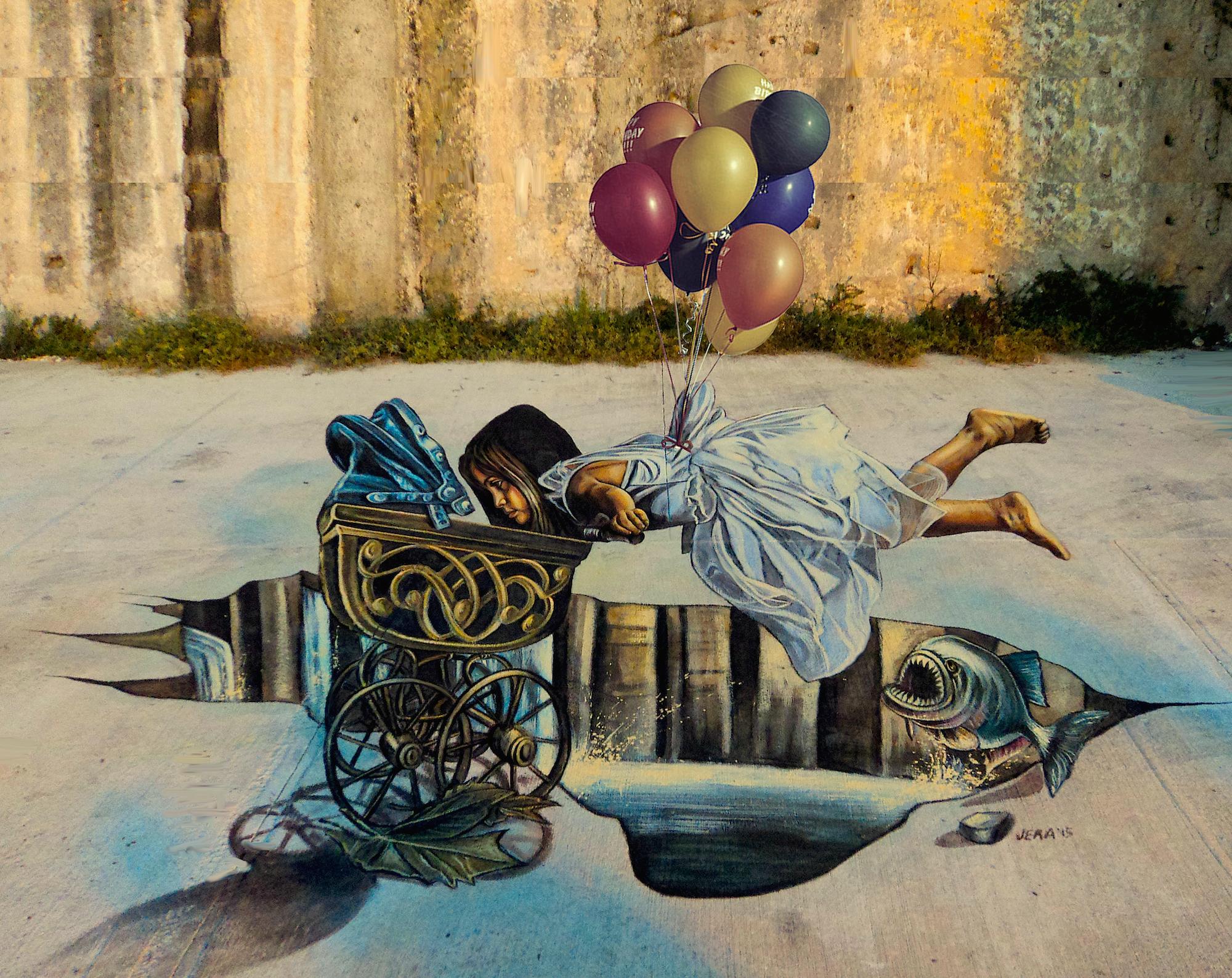 verabugatti streetart arteurbana illusioniottiche 3Dstreetart anamorfosi anamorfico anamorphic illusions urbanart madonnari3D pavementart 3Dstreetart 3Dstreetpainting environment thereisnotplanetb floatingillusion flyingillusion floatingwithbaloons piranha scary mistero migrants travelling roots