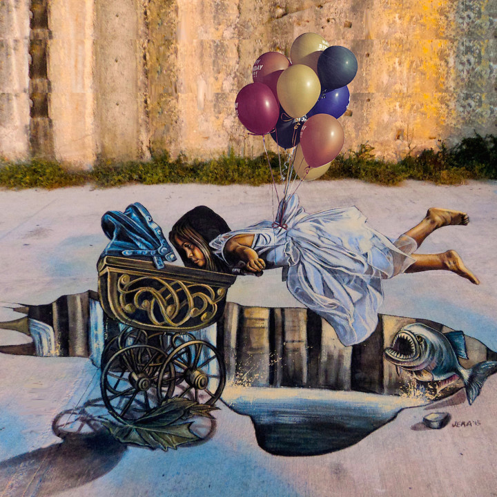 3D floating illusion at Malta Street Art Festival