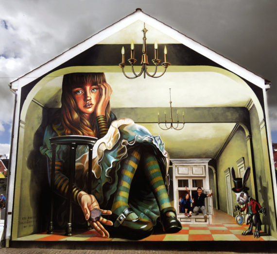 Everything is so out-of-the-way down here! Alice in Wonderland big mural in Denmark