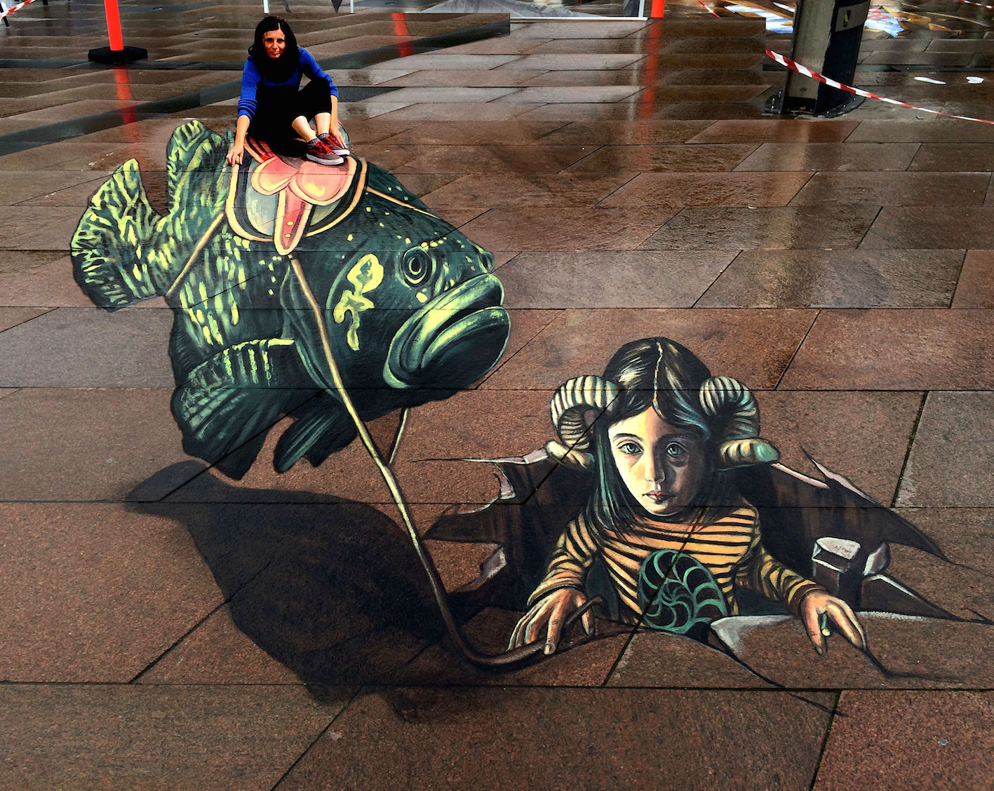 verabugatti streetart brande streetartbrande floatingfish flyingfish ridingfish ariete steampunk denmarkarteurbana illusioniottiche 3Dstreetart anamorfosi anamorfico anamorphic illusions urbanart madonnari3D pavementart 3Dstreetart 3Dstreetpainting environment thereisnotplanetb