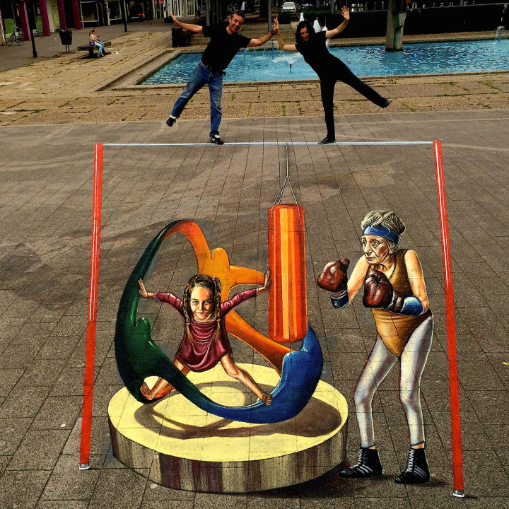 Olympics in 3D street art at World Street Painting Festival in the Netherlands