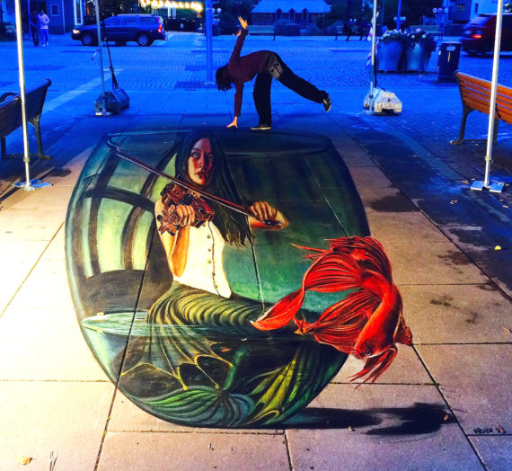 My 3D big mermaid and a losted red fish in Sweden