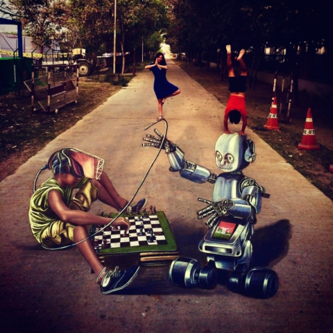 verabugatti streetart arteurbana scacchi india indianchess robotic oldrobot virtualrealityillusioniottiche 3Dstreetart anamorfosi anamorfico anamorphic illusions urbanart madonnari3D Techkriti pavementart 3Dstreetart 3Dstreetpainting environment thereisnotplanetb