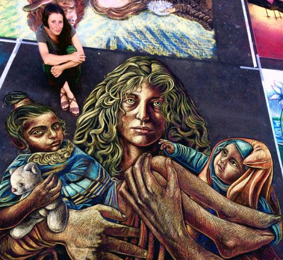Refugees in my artwork @ Madonnari's International Festival in Curtatone