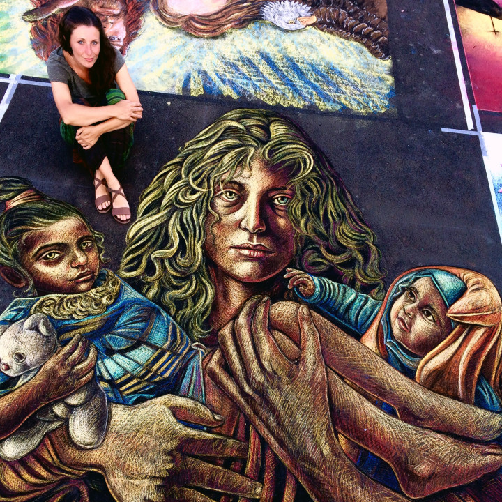 Refugees in my artwork @ Madonnari's International Festival in Curtatone