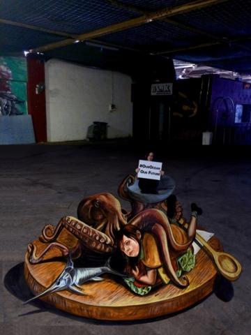 verabugatti streetart arteurbana illusioniottiche 3Dstreetart anamorfosi anamorfico anamorphic illusions urbanart madonnari3D pavementart 3Dstreetart 3Dstreetpainting environment thereisnotplanetb greedyhumanity ourocean dancingfox ourfishes fishfortomorrow maltastreetart octopus3D mediterraneo sea noplastic overfishing
