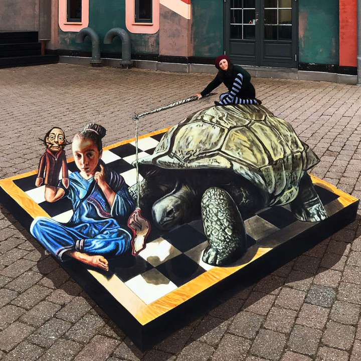 Salvador Dalì in my anamorphic piece in Hillerod, Denmark