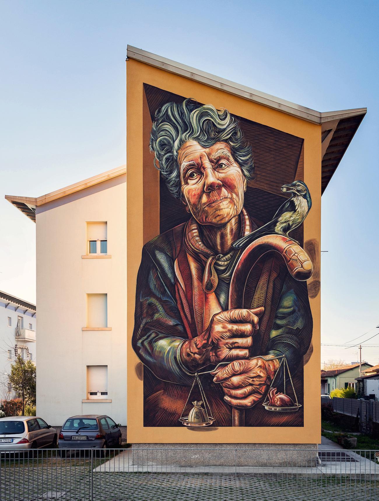 verabugatti streetart murals walls arteurbana illusioniottiche 3Dstreetart autaut psicostasia pesaturadelcuore ghiandaia restiamoumani