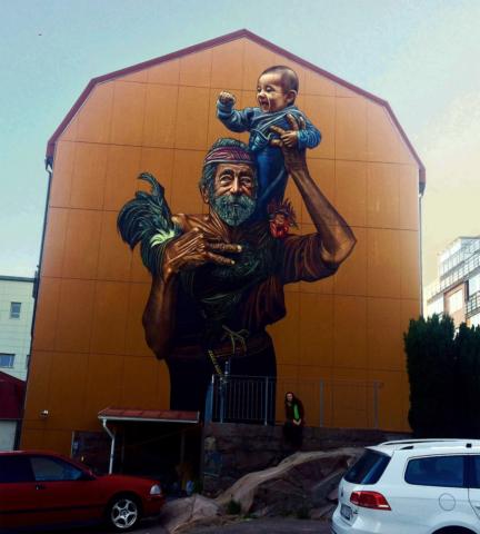 verabugatti streetart murals walls arteurbana illusioniottiche 3Dstreetart accoglienza migrants families traditions sancristoforo
