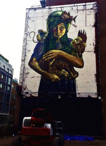 verabugatti streetart murals walls arteurbana illusioniottiche 3Dstreetart gallo cerbiatto galbiatto teratologia fridaysforfuture ambiente monsters streetartlondon