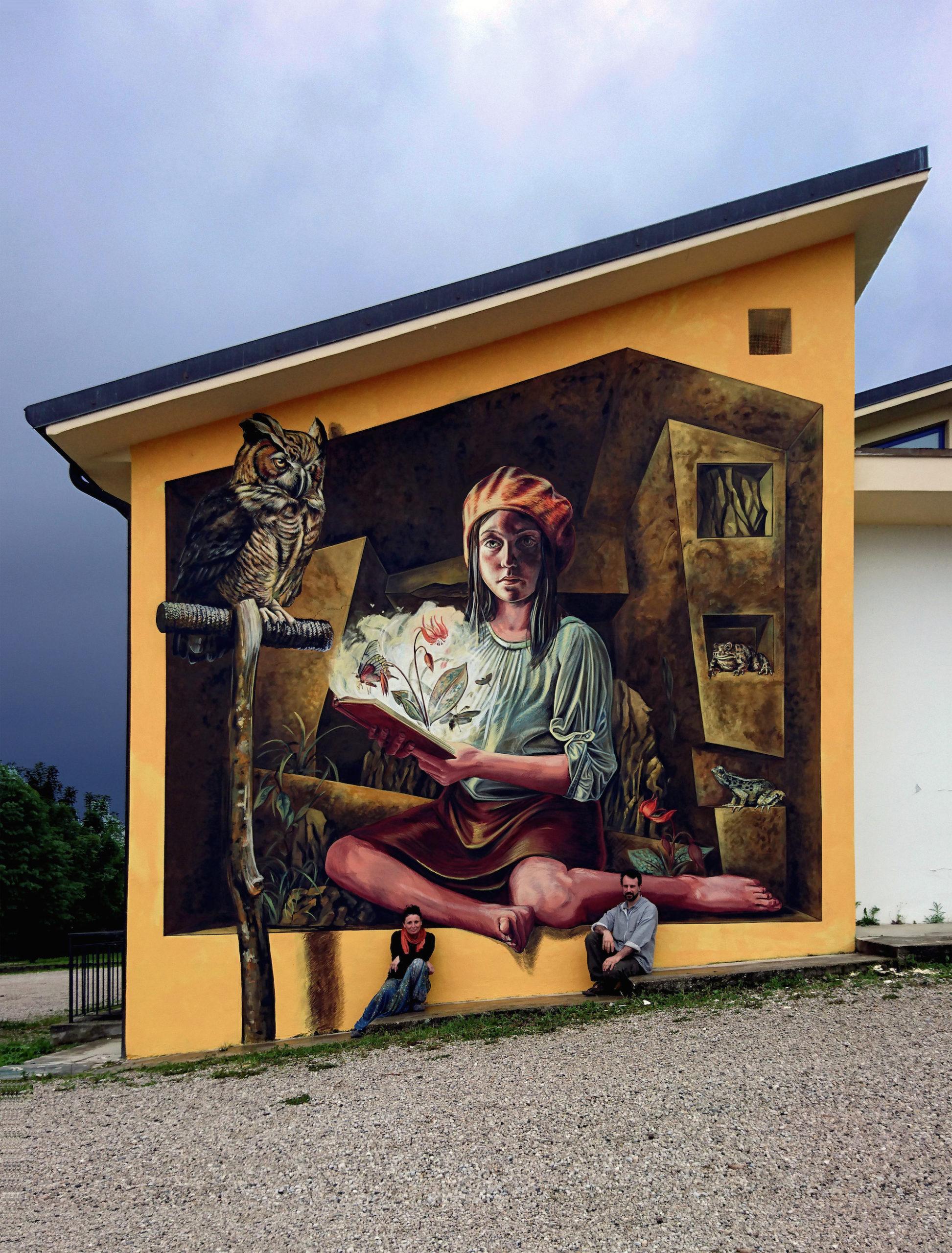 verabugatti streetart murals walls arteurbana illusioniottiche 3Dstreetart gufo natura bergonze streetartvicenza start rana rospo natura lettura zugliano