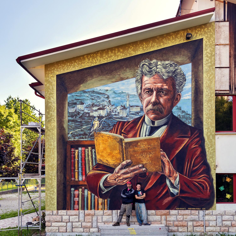 verabugatti streetart murals walls arteurbana illusioniottiche 3Dstreetart fogazzaro piccolomondomoderno tonezza libri lettura indexlibrorumprohibitorum